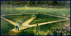 Currier & Ives print of early Baseball Championship Game at Elysian Fields in Hoboken, New Jersey. Click to enlarge.