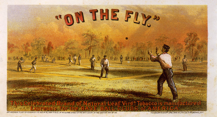 "Baseball history photo: ""On the Fly."" Cigar box label, circa 1867. Copyright by R.J. White & Company. Major & Knapp Engraving, Manufacturing & Lithographic Company, New York. Click photo to return to previous page."