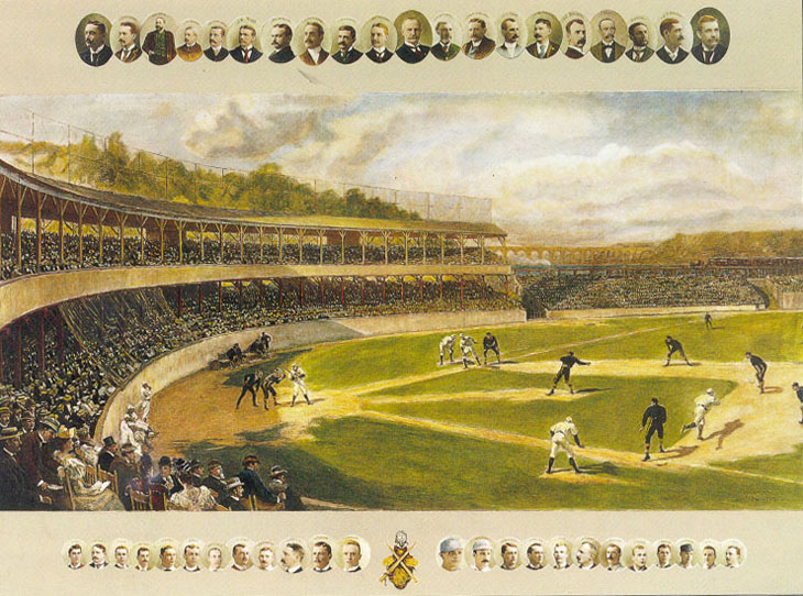 Baseball history photo: Lithograph of the New York Polo Grounds. This print has small images of baseball executives across the top and famous ballplayers across the bottom. In the center is a depiction of game action at the Polo Grounds.  Click photo to return to previous page.