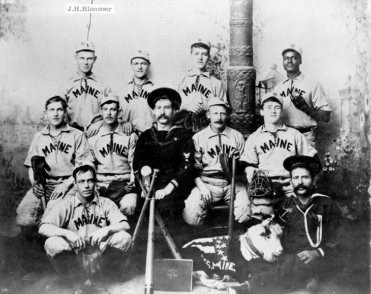 Baseball history photo: This U.S.S. Maine Baseball Team won the Navy baseball championship in December of 1897, held in Key West Florida, beating a team from the USS Marblehead, 18-3.  William Lambert (back row, far right) was the team's best pitcher.  On February 15, 1898, the Maine exploded and sank in Havana harbor helping spark the Spanish-American War.  The explosion killed 260 of the ship's crew and all of the members of the baseball team except for John Bloomer.  Click photo to return to previous page.